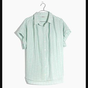 Madewell Central Shirt, XS, mint stripe